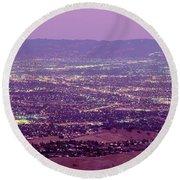 Aerial Silicon Valley San Jose Round Beach Towel