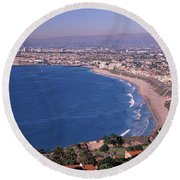 Aerial View Of A City At Coast, Santa Round Beach Towel