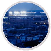 Aerial View Of A City, Wrigley Field Round Beach Towel by Panoramic Images