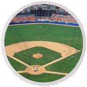 Aerial View Of A Stadium, Dodger Round Beach Towel