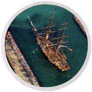 Aerial View Of A Tall Ship Round Beach Towel
