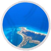 Aerial View Of Cancun Round Beach Towel by Patti Whitten