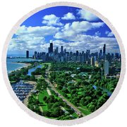 Aerial View Of Chicago, Illinois Round Beach Towel
