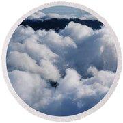 Aerial View Of Haleakala Crater Round Beach Towel