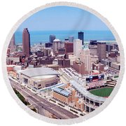 Aerial View Of Jacobs Field, Cleveland Round Beach Towel by Panoramic Images