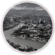 Aerial View Of London 4 Round Beach Towel