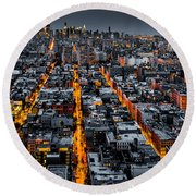 Aerial View Of New York City At Night Round Beach Towel