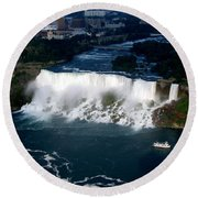 Aerial View Of Niagara Falls And River And Maid Of The Mist Round Beach Towel