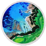 Aerial View Of Pebble Beach Round Beach Towel
