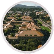 Aerial View Of Stanford University Round Beach Towel by Panoramic Images