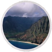 Aerial View Of The Coast, Na Pali Round Beach Towel