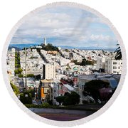 Aerial View Of The Lombard Street, Coit Round Beach Towel