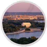 Aerial, Washington Dc, District Of Round Beach Towel by Panoramic Images