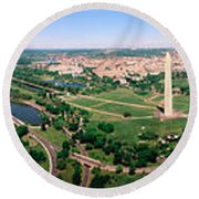 Aerial Washington Dc Usa Round Beach Towel