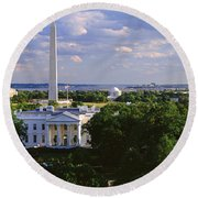 Aerial, White House, Washington Dc Round Beach Towel by Panoramic Images