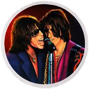 Aerosmith Toxic Twins Painting Round Beach Towel by Paul Meijering