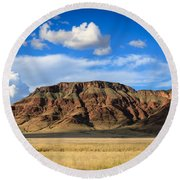 Aferican Grass And Mountain In Sossusvlei Round Beach Towel