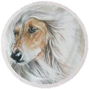 Afghan Hound In Watercolor Round Beach Towel