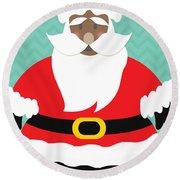 African American Santa Claus Round Beach Towel