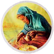 Round Beach Towel featuring the painting African Chai Tea Lady. by Sher Nasser