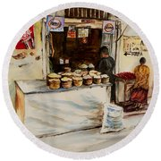Round Beach Towel featuring the painting African Corner Store by Sher Nasser