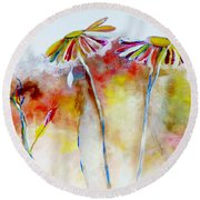 African Daisy Abstract Round Beach Towel
