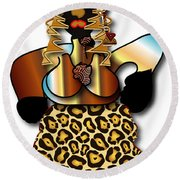 Round Beach Towel featuring the digital art African Dancer 2 by Marvin Blaine