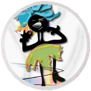 Round Beach Towel featuring the digital art African Dancer 3 by Marvin Blaine