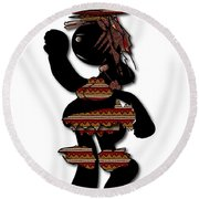 Round Beach Towel featuring the digital art African Dancer 7 by Marvin Blaine