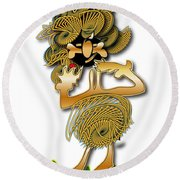 Round Beach Towel featuring the digital art African Dancer With Bone by Marvin Blaine