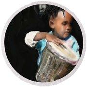 Round Beach Towel featuring the painting African Drummer Boy by Vannetta Ferguson