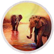 Round Beach Towel featuring the painting African Elephants At Sunset In The Serengeti by Sher Nasser