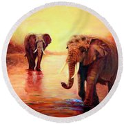 African Elephants At Sunset In The Serengeti Round Beach Towel