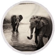 Round Beach Towel featuring the painting African Elephants At Sunset by Sher Nasser