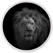 Round Beach Towel featuring the photograph African Lion by Peter Lakomy