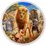 African Stampede Round Beach Towel by Adrian Chesterman