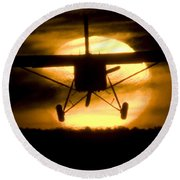 Round Beach Towel featuring the photograph African Sunset by Paul Job