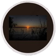 African Sunset Round Beach Towel