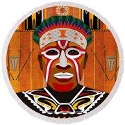 African Tribesman 3 Round Beach Towel