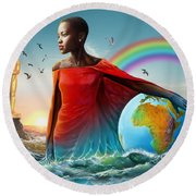 The Lupita Tsunami Round Beach Towel by Anthony Mwangi