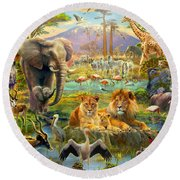 African Watering Hole Round Beach Towel