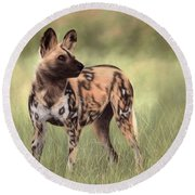 African Wild Dog Painting Round Beach Towel