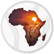 African Wildlife Map Round Beach Towel