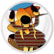 Round Beach Towel featuring the digital art African Worker by Marvin Blaine