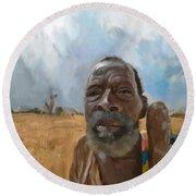 Round Beach Towel featuring the mixed media Afrikan Bushman by Vannetta Ferguson