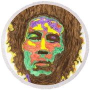 Round Beach Towel featuring the painting Afro Bob Marley by Stormm Bradshaw