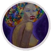 Round Beach Towel featuring the painting Afro-chic by Apanaki Temitayo M