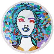 Round Beach Towel featuring the painting Afro Lauryn Hill  by Stormm Bradshaw