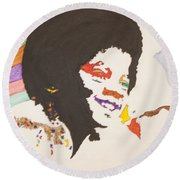 Round Beach Towel featuring the painting Afro Michael Jackson by Stormm Bradshaw