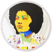 Round Beach Towel featuring the painting Afro Pam Grier by Stormm Bradshaw